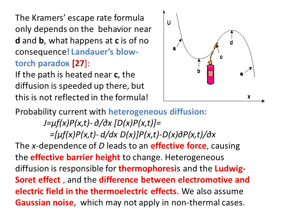 The Kramers' escape rate formula only depends on the behavior near d and b, what happens at c is of no consequence! Landauer's blow-torch paradox [27]: